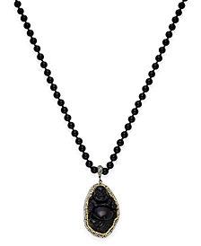 Paul & Pitü Naturally Gold-Tone Pavé Black Bead and Buddha Pendant Necklace
