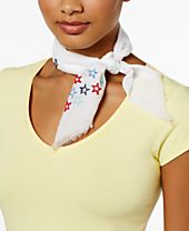 INC International Concepts Cotton Embroidered Stars Bandana, Created for Macy's