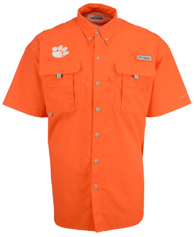 Columbia Men's Clemson Tigers Bahama Short Sleeve Button Up Shirt