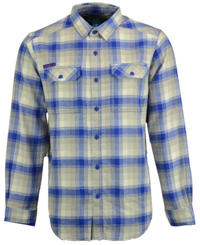 Columbia Men's Kansas Jayhawks Flare Gun Long Sleeve Flannel Button Up Shirt