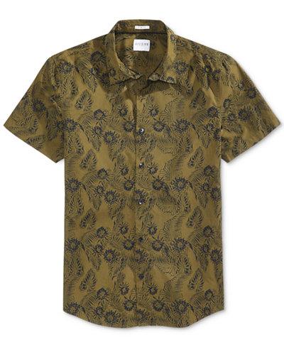 GUESS Men's Laguna Cotton Palm-Print Shirt - Casual Button-Down ...