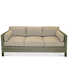 CLOSEOUT! North Port Wicker Outdoor Sofa with Sunbrella® Cushions, Created for Macy's