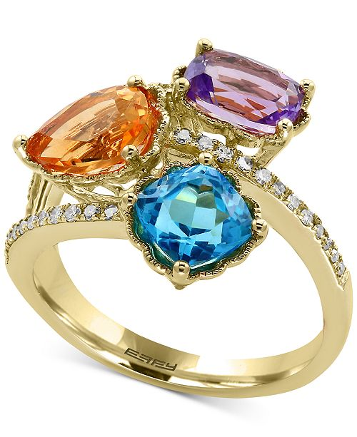 EFFY Collection EFFY® Multi-Gemstone (3-1/2 ct. t.w.) and Diamond (1/8 ct. t.w.) Ring in 14k Gold