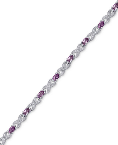 Amethyst (2-9/10 ct. t.w.) and Diamond Accent XO Bracelet in Sterling Silver