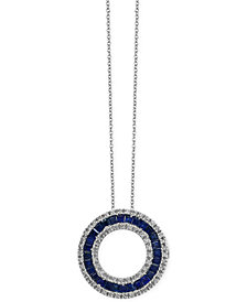 Royalé Bleu by EFFY® Sapphire (1-5/8 ct. t.w.) and Diamond (1/3 ct. t.w.) Circle Pendant Necklace in 14k White Gold, Created for Macy's