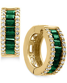 Brasilica by EFFY® Natural Emerald (1-1/10 ct. t.w.) and Diamond (3/8 ct. t.w.) Hoop Earrings in 14k Gold