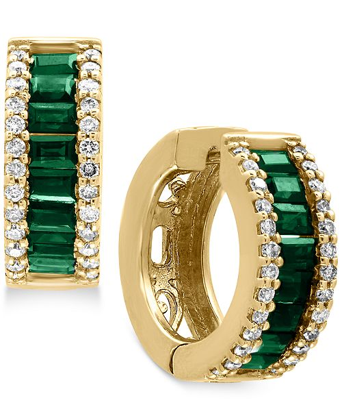 EFFY Collection Brasilica by EFFY® Natural Emerald (1-1/10 ct. t.w.) and Diamond (3/8 ct. t.w.) Hoop Earrings in 14k Gold