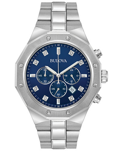 Bulova Men's Chronograph Diamond Accent Stainless Steel Bracelet Watch 44mm 96D138
