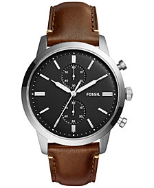 Fossil Men's Chronograph Townsman Dark Brown Leather Strap Watch 44mm FS5280
