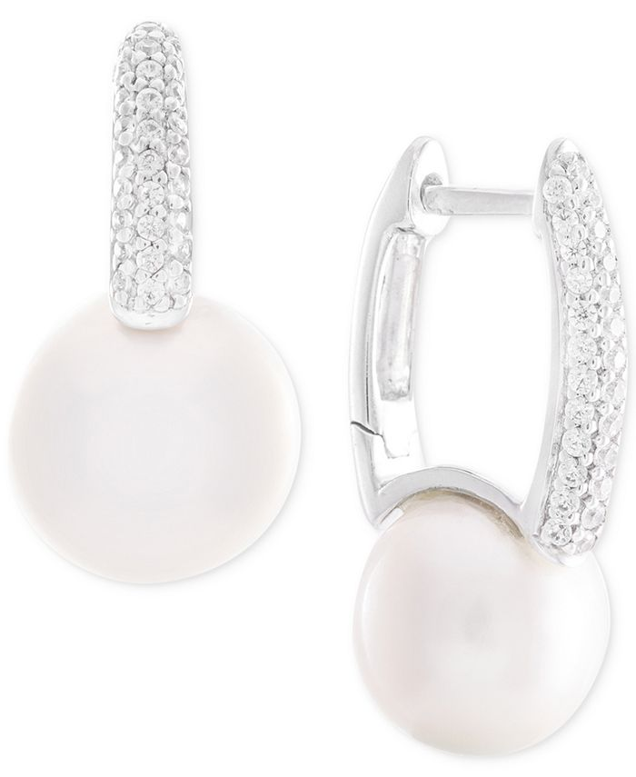 Macy's - Cultured Freshwater Pearl (8mm) and Diamond (1/6 ct. t.w.) Drop Earrings in 14k White Gold