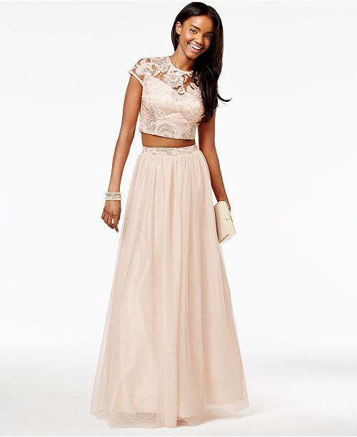 Say Yes To The Prom Juniors 2 Pc Sequined Cap Sleeve Gown A