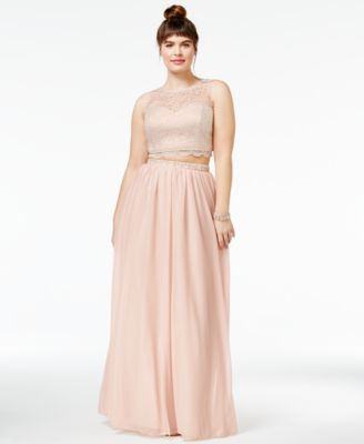 Sequin Hearts Trendy Plus Size 2-Pc. Lace Illusion Gown