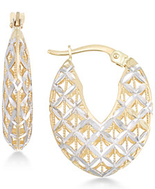Openwork Two-Tone Chunky Hoop Earrings in 14k Gold and White Gold