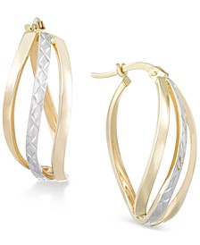 Textured Two-Tone Wavy Hoop Earrings in 14k Gold and White Gold