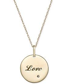 Swarovski Zirconia Inspirational Disc Pendant Necklace in 10k Gold