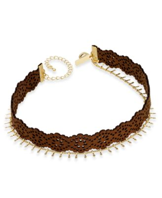 Image of INC International Concepts Gold-Tone Faux Leather and Chain Choker Necklace, Only at Macy's