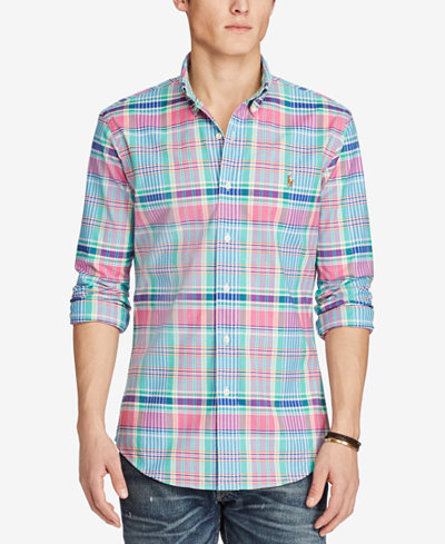 Polo Ralph Lauren Men's Slim-Fit Plaid Stretch Oxford Shirt ...