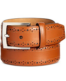 Men's Feather-Edge Leather Belt, Created for Macy's