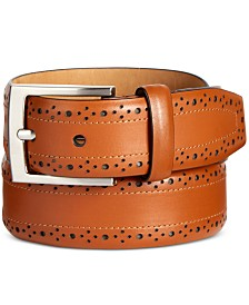 Tasso Elba Men's Feather-Edge Leather Belt, Created for Macy's