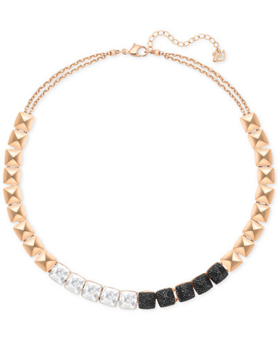 Swarovski Rose Gold-Tone Clear and Black Crystal Collar Necklace