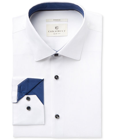 Con.Struct Men's Slim-Fit Stretch White Twill Dress Shirt