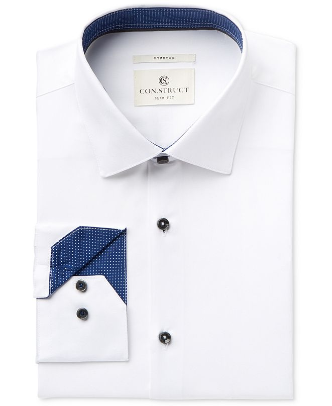 ConStruct Con.Struct Men's Slim-Fit Stretch White Twill Dress Shirt