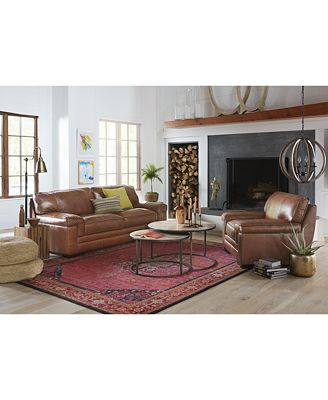 SHOP THE LOOK: Myars Leather Sofa Furniture Macy's