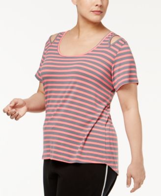 Material Girl Active Plus Size Striped Cold-Shoulder Top, Only at Macy's
