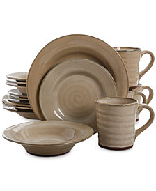 Gibson Elite Mariani Taupe 16-Piece Dinnerware Set