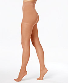 Hanes Women's   Perfect Nudes Run Resistant Girl-Short Tummy-Control Micro Net Sheers