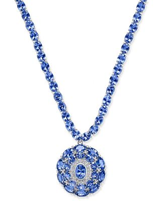 Tanzanite (45 ct. t.w.) and Diamond (1/8 ct. t.w.) Necklace in Sterling Silver, Created for Macy's