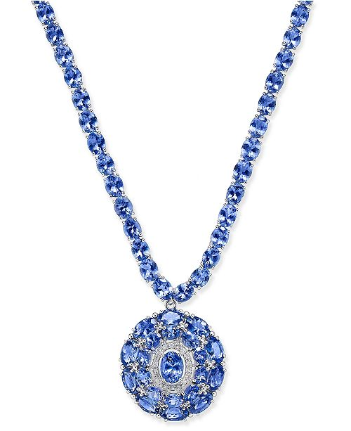 Macy's Tanzanite (45 ct. t.w.) and Diamond (1/8 ct. t.w.) Necklace in Sterling Silver, Created for Macy's