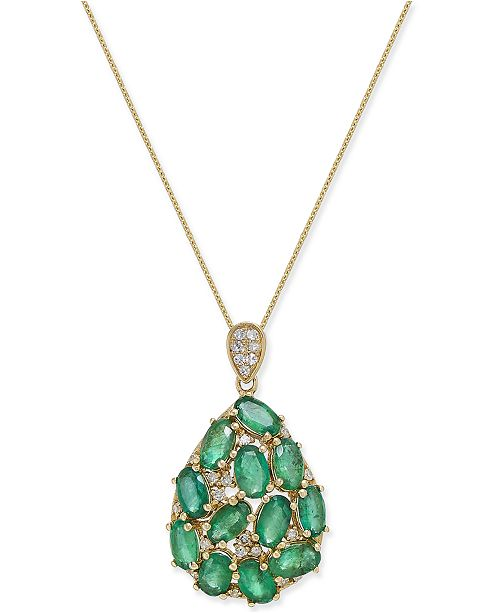 Macy's Emerald (3 ct. t.w.) and Diamond (1/8 ct. t.w.) Pendant Necklace in 14k Gold, Created for Macy's