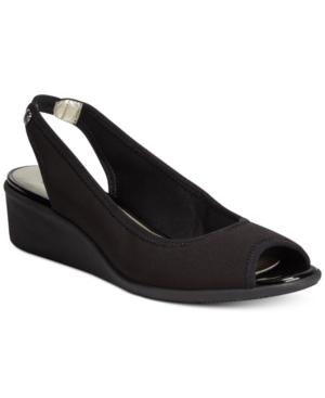 6b4017b0be84 ANNE KLEIN Sport Jayla Peep-Toe Wedge Sandals