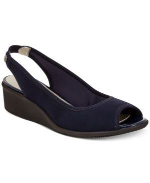 Anne Klein Sport Jayla Peep-Toe Wedge Sandals