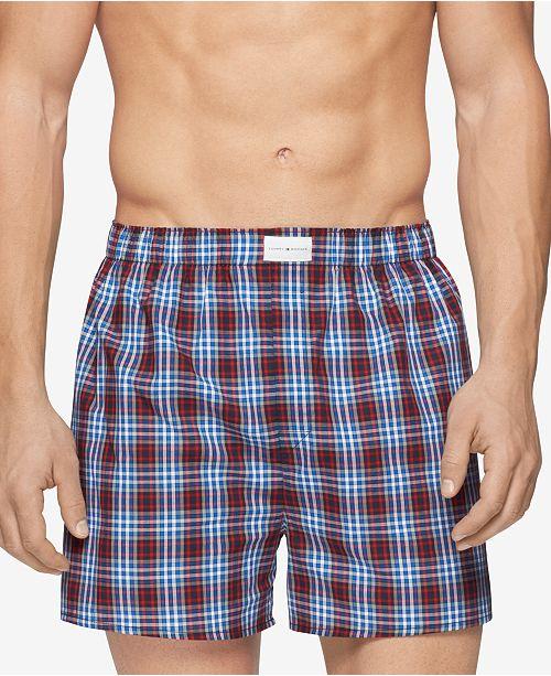 Tommy Hilfiger Men s 3 Pack Woven Cotton Boxers - Underwear   Socks ... c0f4a570d5a8