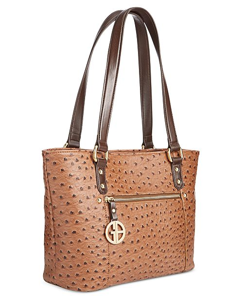 3e42619aef Giani Bernini Ostrich-Embossed Tote, Created for Macy's & Reviews ...