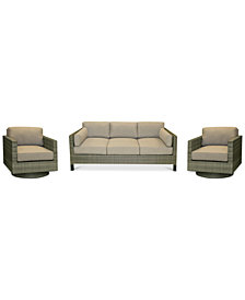 North Port Wicker Outdoor 3-Pc. Seating Set (1 Sofa & 2 Swivel Club Chairs) with Sunbrella® Cushions, Created for Macy's
