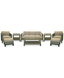 CLOSEOUT! North Port Wicker Outdoor 8-Pc. Seating Set (1 Sofa, 2 Club Chairs, 1 Coffee Table, 2 Ottomans & 2 End Tables) with Sunbrella® Cushions, Created for Macy's