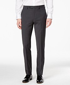 Men's Skinny Fit Stretch Wrinkle-Resistant Charcoal Suit Pants, Created for Macy's