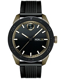 Men's Swiss Bold Black Silicone Strap Watch 43mm
