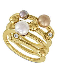 Majorica Endless Pearl Ring, 18k Gold over Sterling Silver Multicolor Organic Man Made Pearl Ring