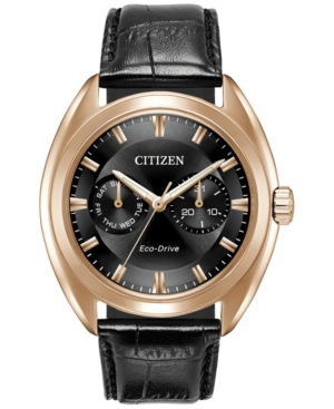 Citizen Men's Eco-Drive Dress Black Leather Strap Watch 43mm