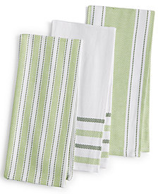 Martha Stewart Collection 3-Pc. Basket Weave Kitchen Towels, Created for Macy's