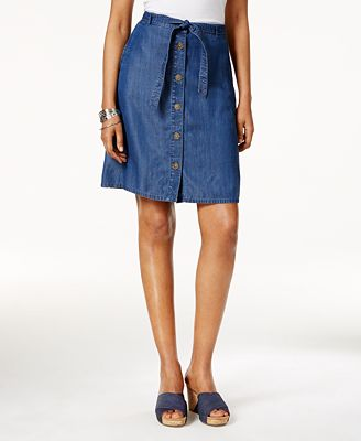 Style & Co Chambray Button-Front Skirt, Created for Macy's