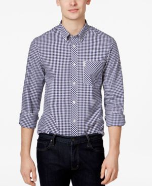 BEN SHERMAN Mod Fit Gingham Sport Shirt in Blue Depth