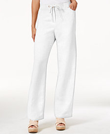 JM Collection Petite Linen-Blend Drawstring Pants, Created for Macy's