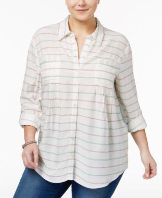 Style & Co Plus Size Mixed-Print Shirt, Only at Macy's