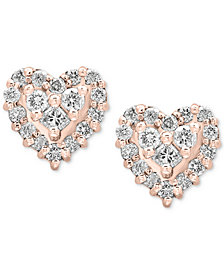 Pavé Rose by EFFY® Diamond Heart Stud Earrings (1/2 ct. t.w.) in 14k Rose Gold