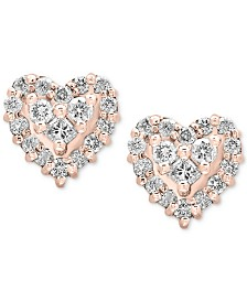 Pavé Rose by EFFY® Diamond Heart Stud Earrings (1/2 ct. t.w.) in 14k Rose Gold
